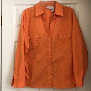 Chico's orange long-sleeve, v-neck blouse